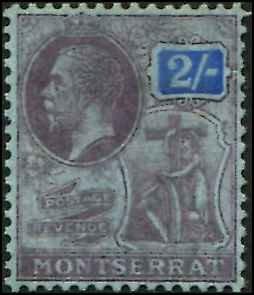 Montserrat SC# 70 KGV 2 shillings  wmk 4 MH