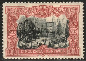 MEXICO 492, 50¢ CARRANZA MONOGRAM REVOLUT OVPERPRINT UNUSED, H OG. VF.