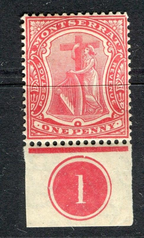 MONTSERRAT; 1908 early issue fine Mint hinged 1d. Marginal value