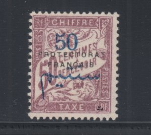 French Morocco Sc J22 MNH. 1915 blue 50c surcharge on 50c Postage Due