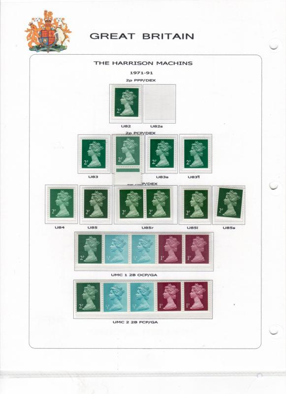 GB  Machin collection consisting of 740 issues MNH