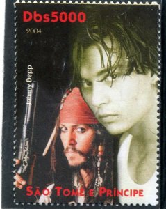 Sao Tome & Principe 2004 JOHNNY DEPP American Actor 1v Perforated Mint (NH)
