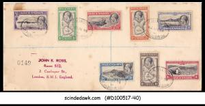 ASCENSION - 1938 REGISTERED Envelope to England with KGVI Stamps