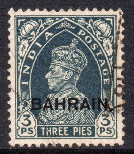 Bahrain 1938 KGVI 3p slate SG 20 used