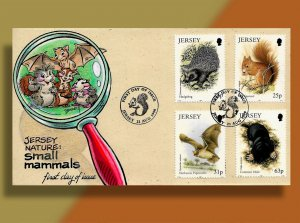 Hedgehog, Squirrel, Bat & Mole on Handcolored Jersey FDC from 1999
