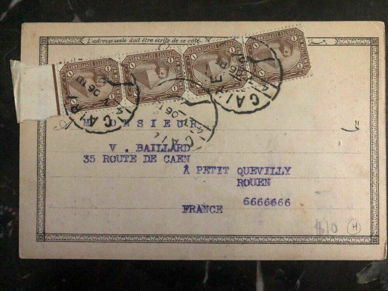 1906 Cairo Egypt RPPC Postcard Cover To Rouen France Mosque Sultan Hassan