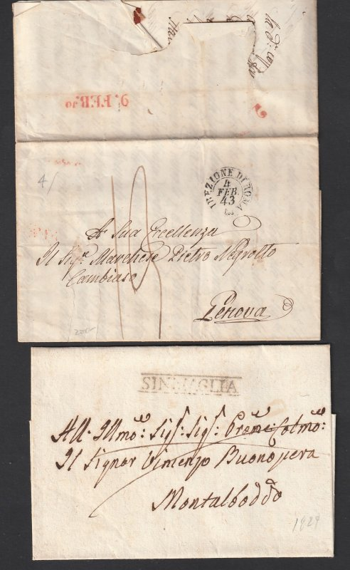 Italy x 2 old pre stamp covers/letters