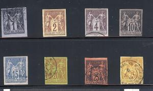 French (Colonies), 38-45, Peace & Commerce Singles,**Used**