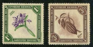 Costa Rica SC# 184-5 Orchid & Chocolate 1c, 3c MH