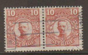 Sweden #80 pair Used Kuongl Postverket watermark