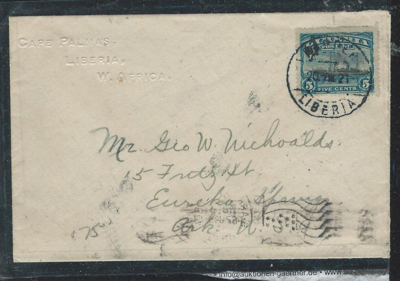 LIBERIA (P2912B) 1921 5C BOAT COVER HARPER TO USA
