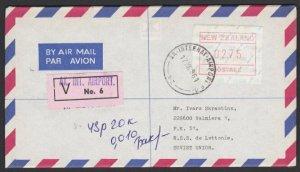 NEW ZEALAND 1986 $2.75 Frama Insured cover Auckland Airport to Latvia.......E187