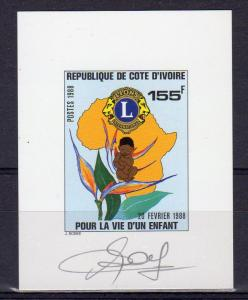 Ivory Coast 1988 Sc#847 LIONS CLUB INTERNATIONAL DELUXE S/S  SIGNED BY ARTIST