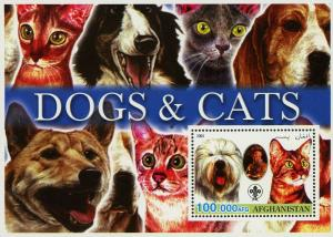 Afghanistan Dogs and Cats Pet Domestic Animal Souvenir Sheet Mint NH