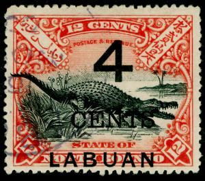 LABUAN SG105, 4c on 12c black & vermilion, FINE USED. Cat £35. P.15