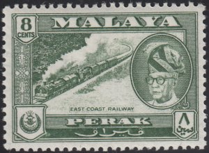 Malaya Perak 1957-61 MH Sc #131 8c East Coast Railway, Sultan Yussuf Izuddin ...