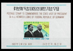 South Korea 1967, Michel#sheet 247 MNH Presidents Park and Lübke