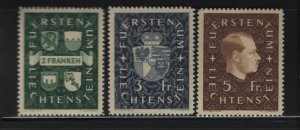 LIECHTENSTEIN 157-159 (3) Set, Hinged, 1939 Prince Franz Joseph II