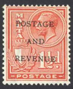 Malta Sc# 153 MH 1928 1½p Overprint