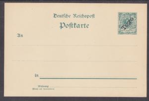 Togo Mi P1 mint 1898 5pf Postal Card, 3 Dots Missing on Address Lines per Michel