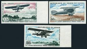 Niger C83-C85 imperf,MNH.Mi 182B-184B. Air Service France-Niger,1968.Breguet 27,