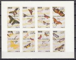 Dhufar, 1973 Local issue. Butterflies, IMPERF sheet of 8. Red Crescent o/p.
