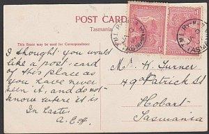 TASMANIA 1907 postcard with 1a (2)  T.M.L. Ry No.3 railway cds..............E737