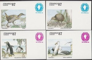 NEW ZEALAND 1987 Stampex set of 4 birds 40c postcards printed to private order.