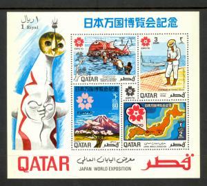 QATAR 1970 EXPO 70 JAPAN Souvenir Sheet Scott No 223a MNH MAPS FISHING VOLCANOS