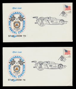 STAMP SHOW OFFICIAL COVER 1978 INDIANAPOLIS CONVENTION APS SET OF 2