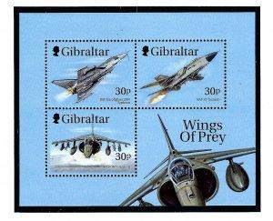 Gibraltar 811a MNH 1999 Fighter Jets S/S