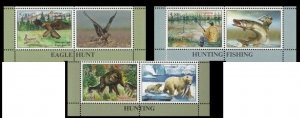 Tajikistan 2020 hunting animals bear birds fish 3 v+label  Right MNH