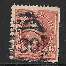 US# 224 6c Garfield, brown red, (U)  CV $25.00