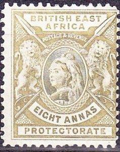 BRITISH EAST AFRICA 1896 QV 8 Anna Grey-Olive SG74 MH