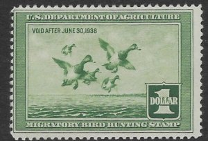 US RW 4  1937  Federal duck stamp  fine mint hinged