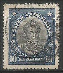 CHILE, 1912, used 10c,  O'Higgins, Scott 116