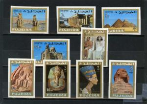 FUJEIRA 1966 Mi#49-57B ANCIENT EGYPT SET OF 9 STAMPS IMPERF. MNH
