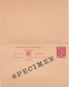 ZANZIBAR 1896 SULTAN UPU SPECIMEN DOUBLE REPLY POSTCARD