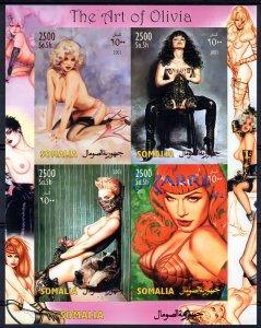 Somalia 2003 THE ART OF OLIVIA Pop-Art-Nudes-CAT Sheetlet (4) IMPERFORATED MNH