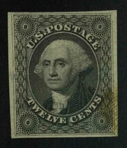 MOMEN: US STAMPS #17 IMPERF MINT OG H **STAINED AT LOWER RIGHT** LOT #55373