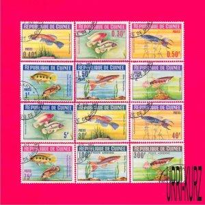 GUINEA 1964 Nature Fauna Tropical Aquarium Fish 12v Sc315-324,C54-C55 Mi214-225