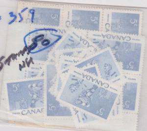 Canada - USC #359 -1956 5c Hocket Stamp X 80 mint including blocks