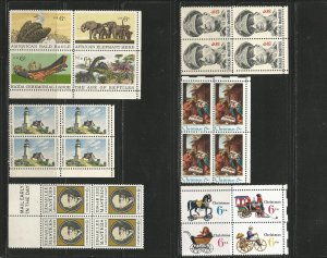 USA Stamps #1390a,1391,1405,1414,1418b,1443 Blocks of 4