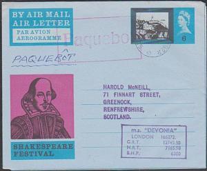 GB NORWAY 1966 MS DEVONIA GB Shakespeare airletter STAVANGER PAQUEBOT.......1053