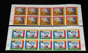 U.N. NEW YORK #793-794, 2001, INTL.VOLUNTEERS YEAR INSC. BLKS/10, NICE!! LQQK!!