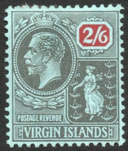 BRITISH VIRGIN ISLANDS-1928 2/6 Black & Red/Blue Sg 100 MOUNTED MINT V41889
