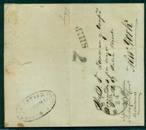 DANISH WEST INDIES 1854 SFL Puerto Rico via St. Tho to Ny 'FOREIGN LETTER OFFICE