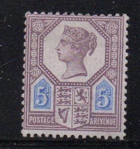 Great Britain Sc 118 1897 5d lilac & blue Victoria stamp mint