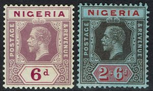 NIGERIA 1914 KGV 6D AND 2/6 WMK MULTI CROWN CA