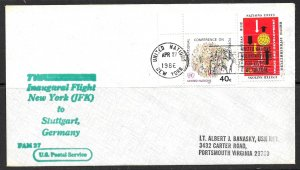 UNITED NATIONS NY 1986 TWA to Stuttgart Germany First Flight Cover